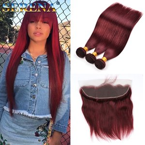 Colore 99J vino rosso brasiliana diritta dei capelli umani tesse 4pcs sacco 10-30inch lungo economici Borgogna Colore dei capelli brasiliana di estensione con frontale