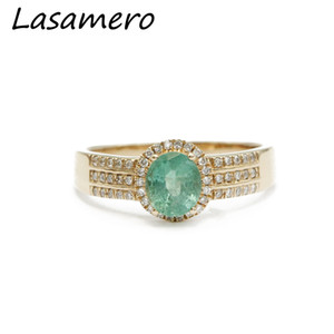 X825 LASAMERO Oval Cut 0.72ct Natural Emerald Gemstone 18k Rose Gold 3 Row Natural Halo Diamond Acentos Promesa Anillo de Acción de Gracias