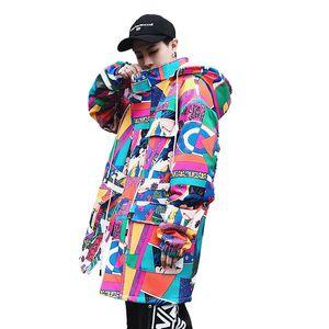 2018 Unisex Japonês Estilo High Street Ukiyoe Amassado Jaqueta Casaco Com Capuz Yamato-e Hip Hop Patchwork Jaqueta de Design de Arte Japonesa