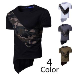 Kamuflaj Erkekler Kısa T Shirt Yaz Ekip Boyun Patchwork Tasarımcı Düzensiz Üst Yüksek Sokak Homme Gri Siyah Beyaz T-shirt M-3XL