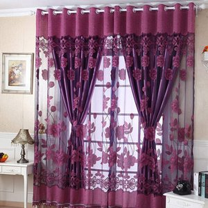 Hot Sale 250cmx100cm Print Floral Voile Door Curtain Window Room Curtain Divider Scarf fashion Beauty Bedroom