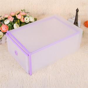 Marco translúcida caja de zapatos Hombres Mujeres del color del caramelo Caja de almacenamiento de dos pisos cajón Tipo de contenedor nuevo patrón a prueba de polvo 5 1JD XY