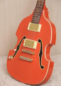 희귀 PGM700 PGM 700 폴 길버트 MIJ 바이올린 오렌지 일렉트릭 기타를 두 번 F 구멍 페인트, 골드 하드웨어, 화이트 바디는, 험버커 픽업 서비스 바인딩