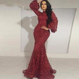 Borgogna pieno petali abiti da sera appliqued collo alto maniche lunghe abiti da ballo sirena abiti da sera glamour pizzo medio oriente