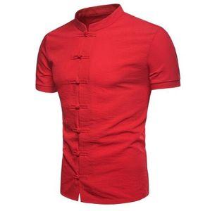 Lates Trend Herren Kragenhemd Sommer neuen chinesischen Stil Disc Schnalle einfarbig kurzarm casual Hemd Marke Kleid