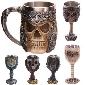 3D Schädel Becher Wand Edelstahl Tassen 200-400ml Kaffee Bier Tee Tasse Ritter Krug Drache Trinkbecher Freies DHL WX-C10