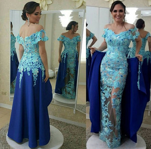 Off Shoulder Floor Length Blue Deatchable Train Applique Lace Evening Dresses New Party Dresses Elegant Prom Dresses