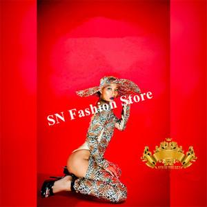 K21 Sexy feminino Leopardo impressão bodysuit cantor performance jumpsuit dj chapéus prom trajes de dança de salão vestido de palco outfit discoteca outfit bra