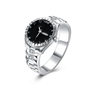 Fashion Women Mens Dial Quartz Analog Watch Creative Steel Cool Silver Plated Quartz Finger Ring Gifts Jewelry