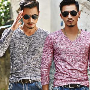 Katı Bahar Sonbahar Moda Marka V-Boyun Slim Fit Uzun Kollu Tişört Erkekler Eğilim Rahat Erkekler T-Gömlek Kore T Shirt Pamuk