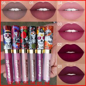 CmaaDu Makeup Matte 6 Colors Rouge à Lèvres Liquide Imperméable et Durable Crâne Tupe Rouges à Lèvres Maquillage Lipgloss