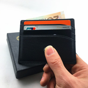 Mâle Véritable En Cuir Célèbre Designer Titulaire de la Carte de Crédit Portefeuille Classique Noir Hommes Mince De Mode ID Card Case 2017 Nouveautés Mini Sac De Poche