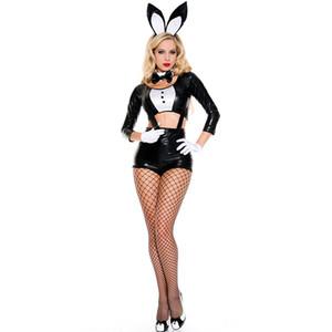 Halloween Un juego completo de disfraces de conejo Disfraces sexy traje de conejo Ropa de fiesta de carnaval Bunny Girl Cosplay usar traje atractivo