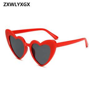 ZXWLYXGX 2018 Nueva Moda Amor Corazón Gafas de Sol Mujeres lindo atractivo retro Cat Eye Vintage barato Gafas de sol rojo femenino