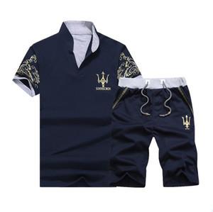 2018 Yeni Yaz Sporting Suit Erkekler Rahat Set Eşofman Baskı Standı Yaka Kısa Kollu Şort Polo Gömlek 2 adet Artı Boyutu