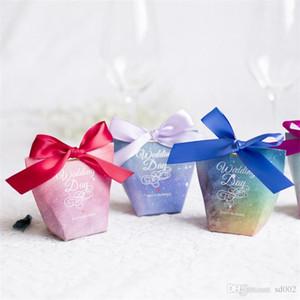 سماء نجمية لون الحلوى مربع لحفل زفاف تذكارية مثلث ورق التغليف هدية حقيبة البسيطة الجدة شبه منحرف التفاف مع القوس تصميم 0 5mh