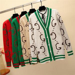 카디건 스웨터 니트 럭셔리 디자이너 여성들 New 고품질 봄 가을 여성 우아한 인쇄 겉옷 스웨터 탑 코트