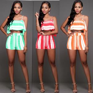 Summer Fleet Striped Sling Set de dos piezas Mujer Mamelucos Pantalones Mariposa sin mangas Tops Camisetas de las mujeres Trajes de dos piezas Bodycon Sets