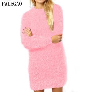 PADEGAO pullover see blau pullover o hals langarm jumper frauen herbst winter lose beiläufige oberseiten rosa woolen gestrickte pullover