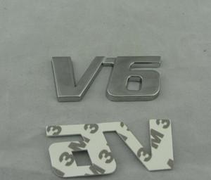 자동차 범퍼 스티커 자동차 스타일링을위한 10PCS / 많은 도매 3D 금속 V6 로고 엠블럼 배지 스티커