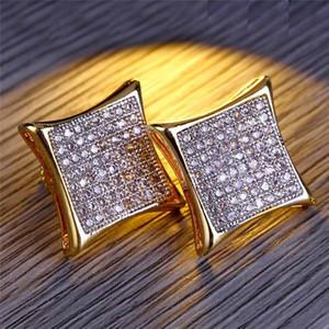 Hiphop Zirkon Ohrringe Für Frauen Herren Marke Design Gold Voller Diamanten Ohrstecker Luxury Screwback Ohrring Zubehör