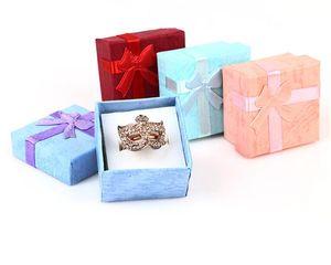 """48pcs / pcs caja de regalo de la joyería Caja del anillo de lazo para el tamaño del anillo 4cm (1.6 """") * 4cm (1.6"""") * 3cm (1.2 """") 4 colores rojo azul Selección púrpura rosada"""