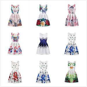 Summer Butterfly Flowers Printed Vest Dress Kids Jumper Skirt Cotton Big Girls Abiti Vintage Pageant Abbigliamento 130-160cm 18 stili