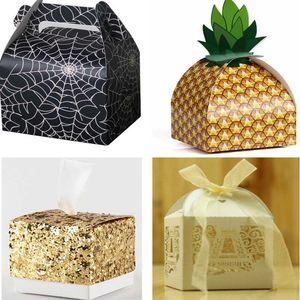 Noël Bonbons Cadeau Wraps Sacs Ananas Halloween Araignée Sequin Paillettes De Mariage Fête Emballage Boîtes En Papier Sacs Table Décoration WX9-804