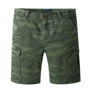 Print Summer Style Casual Mens Camouflage Cargo Pockets Shorts Men Cotton Work Army Green Brand Clothing Shorts