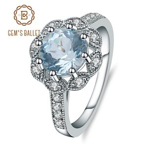 Gem's Ballet Nouveautés Sky Top Bleu Ciel Anneaux Véritable 925 en argent sterling Bijoux de Fiançailles De Mariage Pour Les Femmes Y1892607