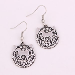 Newest Fashion Silver Color Horse Carved On Crystal Rhinestone Cat Head Pendant Charm Hooking Earrings Jewelry