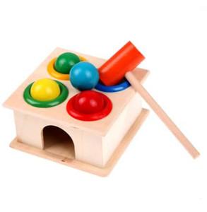 JOCESTYLE Martello colorato palla di legno + scatola di legno martello bambini apprendimento precoce bussare musica giocattoli educativi regalo di compleanno