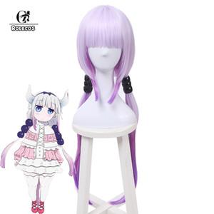 ROLECOS Kobayashi san Chi no Maid Dragón Cosplay Kanna Kamui Cosplay 80cm / 31.5inch Gradient Purple Hair Accessories