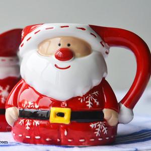 عيد الميلاد سانتا كلوز الكرتون القدح 3D جديد فنجان القهوة السيراميك البنات صبي لطيف القدح الإبداعية هدية