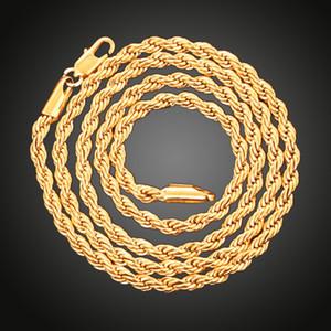 Мода 4 мм стерлингового серебра 925 Стерлинговые серебряные цепей Ожерелье сверкающие ювелирные изделия 18K позолоченное позолоченное кручение цепи ожерелье вечеринка DIY ювелирные изделия