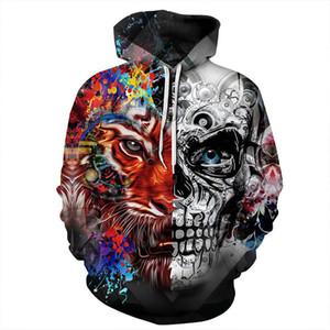 Neue Marke Mens Designer Hoodies gedruckt 3d Hoodies Schädel Tiger dünne Trainingsanzug mit Kapuze Mantel Drop Shipping