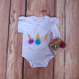 Branco Monogrammed roupa do bebê Unicórnio Bebê Romper Monogram Roupas de bebê recém-nascido Onesie DIY Baby Shower presente de aniversário Unicornio jumpsuit