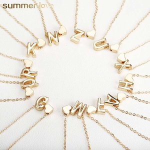 26 Intial Letter Alphabet Heart Collar colgante para mujer Color oro A-Z Alphabet Necklace Chain Fashion Jewelry Gift