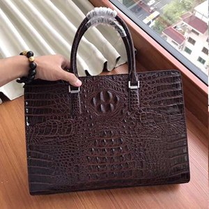 New hot real leather crocodile pattern brand men's bag men's fashion shoulder bag men's briefcase handbag Messenger leather computer bag
