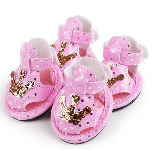 petcircle new arrivals pet dog shoes estate carino corona cane scarpe per chihuahua yorkshire sandali per cani 2 colori 4 pezzi / lottp