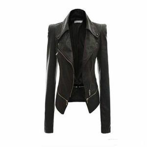 Toptan Satış - Kadın Deri Ceket Perçin Fermuar Motosiklet Ceket Turn Down Yaka chaquetas mujer Argyle desen Deri Ceket S-3XL