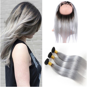 # 1B / Gris Ombre 360 ​​Lace Frontal Closure Pre arrancado con teje recto Ombre Silver Grey Peruvian Hair Packs con 360 frontal