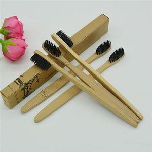 Cepillo de dientes de bambú de Pure Nature Limpiador de lengua Dientes de dentadura Kit de viaje Brocha de carbón 100 Unids Made in China