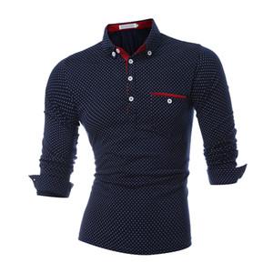 Polo para hombre Marcas Hombre Manga larga Moda Casual Polka Dot Slim Botón de bolsillo Polos Diseñador Otoño Polo Camisas Hombres Venta caliente