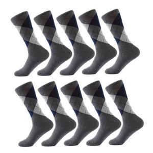 10 paires / Lot MASCULIN Chaussettes solides Chaussettes en coton Couleur Motif Argyle Socks HABILLÉES Business Casual drôle long Sock