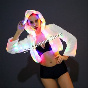CC61 Sexy women stage wears dresses luminous colorful light clothes ballroom dancer led costumes catwalk jacket dj coat party