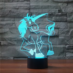Forma Unicorn 3D LED Noite 7 Alterar Lâmpada Multi-colorido Luz 3D Hologram Illusion lâmpada de mesa For Kids Dropshipping novidade Atacado