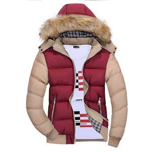 الشتاء الدافئ سترة الرجال القطن مبطن الدافئة رشاقته سترة معطف قصير الملابس الوقوف طوق الذكور الصلبة ستر معطف كبير الحجم للرجال