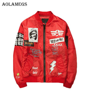 Aolamegs Jacket Men Print Plus Size Stand Collar Bomber Jacket Fashion Casual Outwear Men's Coat Bomb Baseball Jackets New