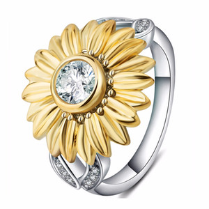Shellhard Fashion Women Jewelry Accessories Silver Plated Sunflower Ring Unique Yellow Wedding Party Jewellery bisuteria bijoux